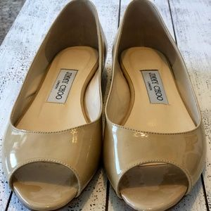 Jimmy Choo Nude Patent Leather Peep Toe Flat